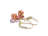 Small Murano Red Ball Gold Earrings JKC Murano