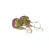 Murano Glass Red Green Cube Gold Earrings, Venetian Jewelry, Dangle Clip Ons JKC Murano