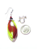 Murano Mouth Blown Glass Red and Green Long Oval Earrings, Argyle JKC Murano