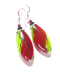 Murano Mouth Blown Glass Red and Green Long Oval Earrings, Argyle - JKC Murano