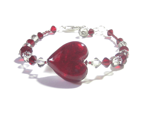 Murano Glass Red Heart Sterling Silver Bracelet JKC Murano