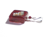 Murano Glass Red Square Abstract Pendant, Venetian Glass Jewelry