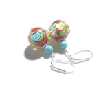 Murano Glass Red Turquoise Butterfly Ball Sterling Silver Earrings JKC Murano