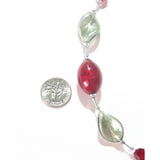 Murano Glass Red Gray Twist Sterling Silver Necklace JKC Murano
