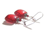 Murano Glass Red Square Sterling Silver Earrings, Venetian Jewelry - JKC Murano