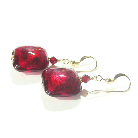 Italian Murano Glass Red Square Gold Earrings by JKC Murano