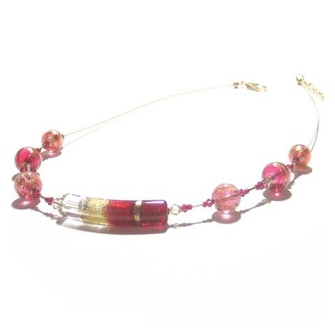 Murano Glass Pink Tube Gold Necklace by JKC Murano