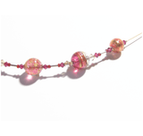 Murano Glass Pink Tube Gold Necklace by JKC Murano - JKC Murano
