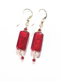 Venetian Glass Red Rectangle Gold Earrings, Gold Filled Fishhooks JKC Murano