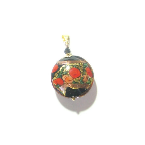 Murano Glass Red Black Bed of Roses Disc Pendant
