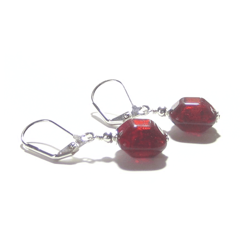 Murano Glass Red Beveled Square Sterling Silver Earrings