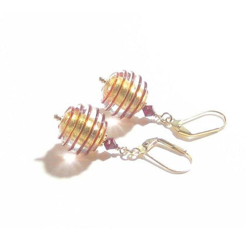 Murano Glass Red Spiral Rings Gold Earrings