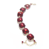 Murano Glass Red Square Gold Filled Adjustable Bracelet - JKC Murano