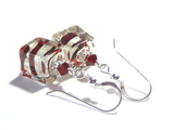 Genuine Murano Glass Red Swirl Cube Sterling Silver Earrings - JKC Murano - 3