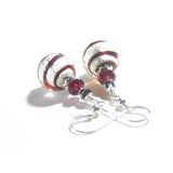 Genuine Murano Glass Red Swirl Ball Sterling Silver Earrings JKC Murano