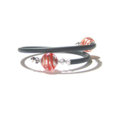 Murano Glass Red Silver Sterling Silver Wrap Bracelet - JKC Murano