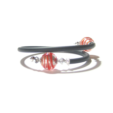 Murano Glass Red Silver Sterling Silver Wrap Bracelet JKC Murano