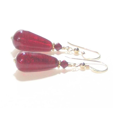 Murano Glass Red Teardrop Gold Earrings by JKC Murano