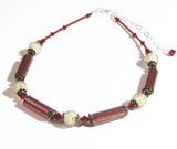 Murano Glass Vintage Style Red Silver Necklace JKC Murano