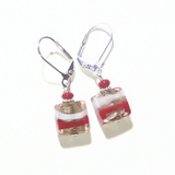 Murano Glass Pink Red White Square Striped Square Sterling Silver Earrings - JKC Murano
