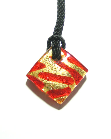 Murano Glass Cherry Red and Gold Zebra Diamond Pendant Necklace, Marked Murano JKC Murano