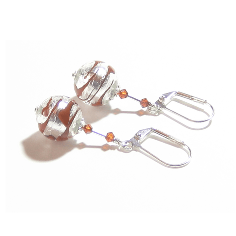 Murano Glass Orange Zebra Ball Silver Earrings JKC Murano