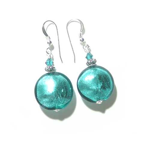 Murano Glass Large Sea Green Disc Silver Earrings