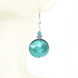 Murano Glass Large Sea Green Disc Silver Earrings - JKC Murano