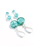 Murano Glass Sea Green Dangle Silver Earrings JKC Murano