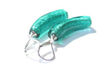 Venetian Glass Sea Green Curved Tube Silver Earrings JKC Murano