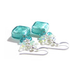 Murano Glass Sea Green Diamond Crystal Cluster Silver Earrings JKC Murano