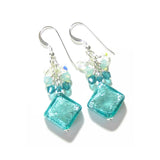 Murano Glass Sea Green Diamond Crystal Cluster Silver Earrings - JKC Murano