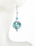 Murano Glass Sea Foam Ball Sterling Silver Earrings JKC Murano