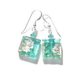 Murano Glass Sea Green Square Silver Earrings JKC Murano