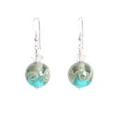 Murano Italian Glass Sea Green Ball Sterling Silver Earrings JKC Murano
