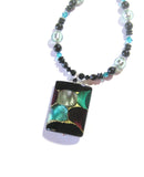 Murano Glass Large colorful Black Rectangle Pendant Silver Necklace JKC Murano