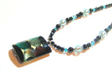 Murano Glass Large colorful Black Rectangle Pendant Silver Necklace - JKC Murano