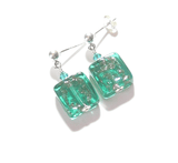 Murano Glass Sea Foam Square Sterling Silver Earrings JKC Murano