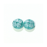Murano Millefiori Sea Green Sterling Silver Large Post Stud Earrings - JKC Murano