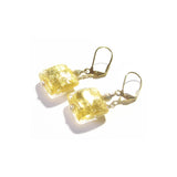 Murano Glass Square Clear Gold Earrings JKC Murano