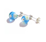 Murano Glass Small Aqua Millefiori Ball Silver Earrings JKC Murano
