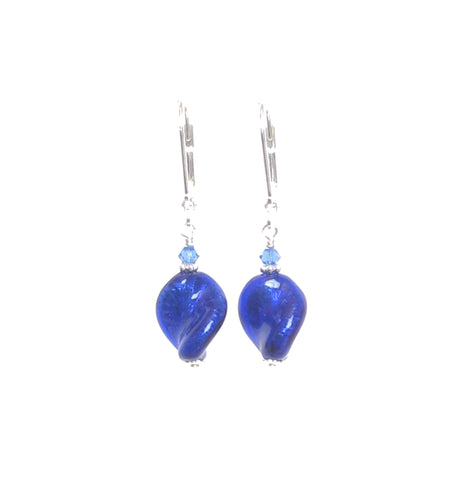 Cobalt Blue Murano Glass Twist Sterling Silver Earrings JKC Murano