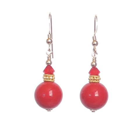 Murano Glass Red Ball Drop Gold Earrings, Clip ons, Leverbacks JKC Murano