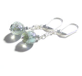 Murano Glass Grey Dichroic Ball Sterling Silver Earrings - JKC Murano