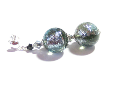 Murano Glass Grey Dichroic Ball Sterling Silver Earrings JKC Murano