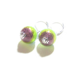 Italian Glass Blue Green Purple Striped Silver Earrings, Sterling Silver Leverbacks JKC Murano