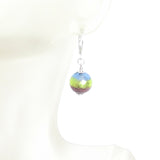Italian Glass Blue Green Purple Striped Silver Earrings, Sterling Silver Leverbacks - JKC Murano