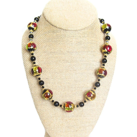 Murano Glass Colorful Black Ball Chunky Gold Necklace by JKC Murano