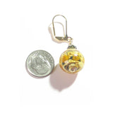 Murano Glass Topaz Rose Ball Gold Earrings, Leverback Earrings - JKC Murano