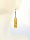 Murano Glass Topaz Green Tube Gold Earrings JKC Murano